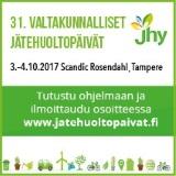 31. Valtakunnalliset jätehuoltopäivät, 3.-4.10.2017 Tampere