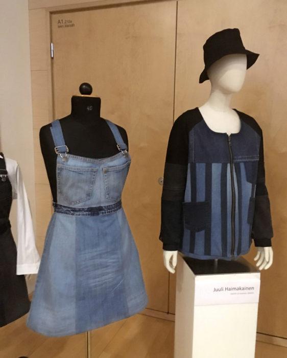 Juuli Haimakaisen työnäyte tekstiilin kierrätyksestä  uusiin käyttöihin.