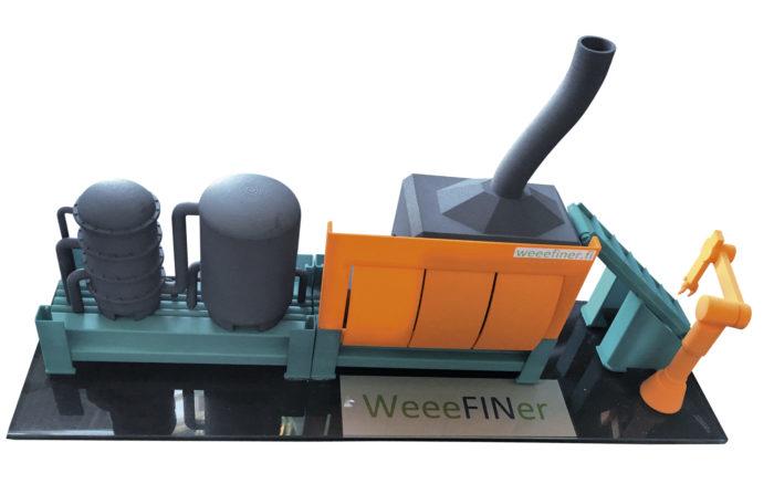 Sähkö- ja elektroniikkaromusta arvometalleja uuttavan  demolaitoksen aihiota esiteltiin kesäkuussa WorldCircular  Economy Forumissa  Finlandia-talolla.
