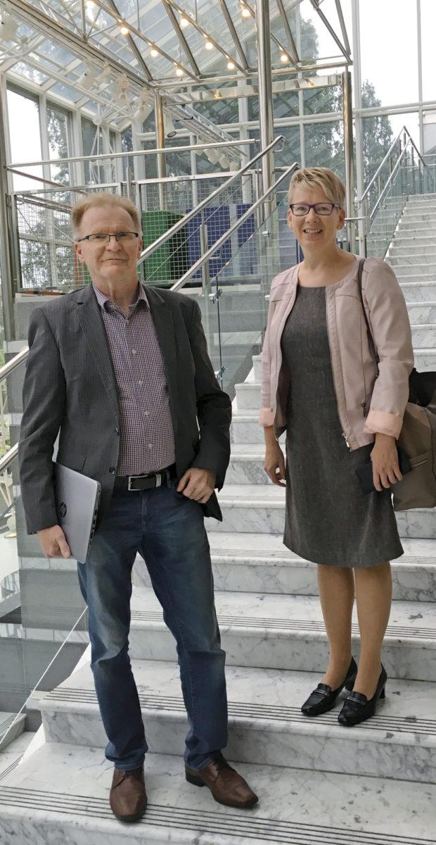 Markku Illikainen ja Helmi Riihimäki matkasivat Tampereelle hankkeen kick-off-tilaisuuteen Oulusta. Ruskonniitty on yksi merkittävistä tulevaisuuden kiertotalouskeskuksista.